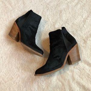 Sol Sana calf hair wooden stacked heel bootie